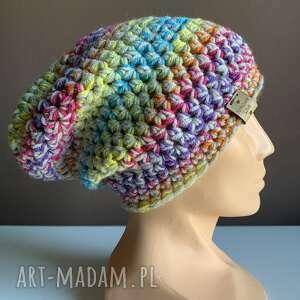 ręcznie robiona czapka tęcza hand made, czapka, czapki, na głowę, rękodzieło