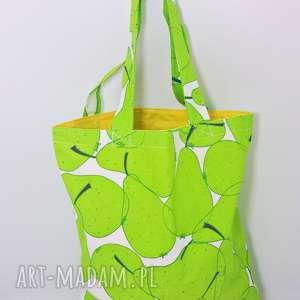 Torba na zakupy Shopperka gruszki żółta podszewka, torba, shopperka, zakupy,