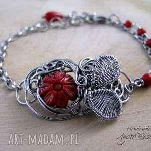 Bransoletka z kwiatkiem, koral czerwony, wire wrapping, bransoletka, koral, kwiatek