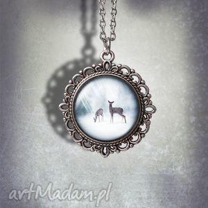 handmade naszyjniki medalion sarny - little deers romantyczny