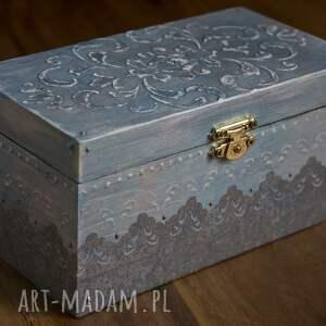 Pudełeczko na biżuterie, decoupage, srebro, glamour, drobiazg, drewniane, biżuteria