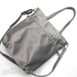 shopper bag sack - tkanina szara, hobo, sack, prezent, nowoczesna, elegancka