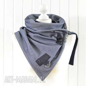 szal niebieski z granatową skórą, ciekawy komin - szal, jeansowy, ciepły