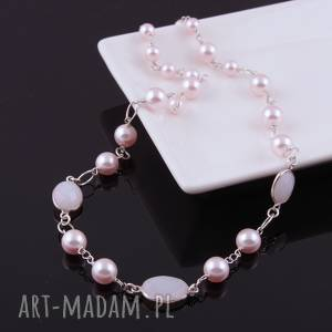 bladoróżowy naszyjnik z pereł swarovski - perły, kwarc
