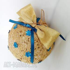 Bombka kordonkowa - złoto i turkus - Hand-Made