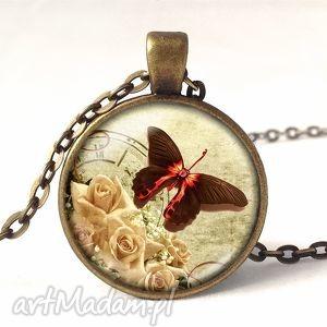 vintage motyl - medalion z łańcuszkiem - naszyjnik, prezent, retro