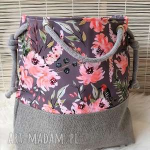 na ramię torba worek w kwiatowy wzór, torba, torebka, damska, worek, plażowa