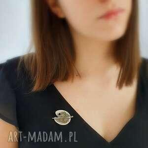 paleta do malowania z pędzlem - broszka srebrna, biżuteria, autorska, prezent