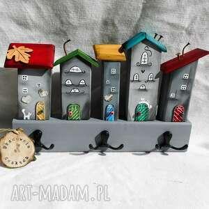 pod choinkę prezent, wieszak szare domki no 1, z drewna, drewna