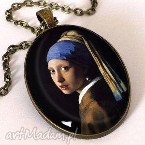 dziewczyna z perłą - owalny medalion łańcuszkiem, dziewczyna, perłą, malarstwo