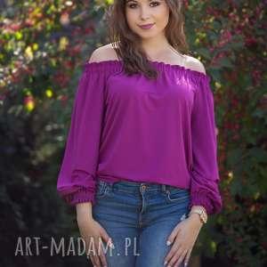 bluzki karmen bluzka z marszczonym hiszpańskim dekoltem, amarant