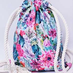 Worek plecak wodoodporny kaktusy z różową podszewką, torba, plecak, workoplecak