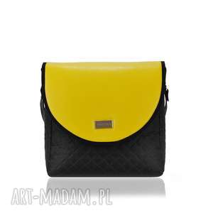 na ramię torebka puro 1590 yellow, damska, polska marka, pikowana, eko