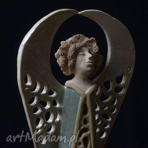 Anioł miętowy- ceramiczna rzeźba na tea-lighy, anioł, ażurowy, tealighty, lampion