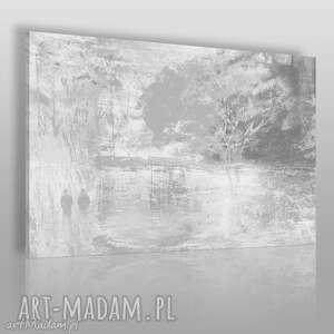 obraz na płótnie - drzewo romantyczny szary 120x80 cm 11702, drzewo, para