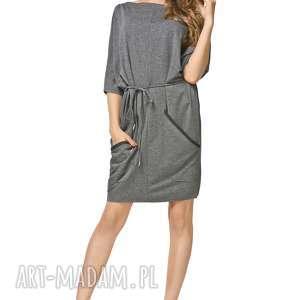 Sukienka 2w1 z paskiem i kieszeniami T155, szary, sukienka, lużna, bawełniana