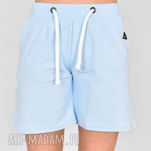 handmade ubrania szorty damskie z przeszyciami celina niebieskie