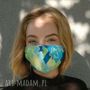 maseczka profilowana w turkusach, maseczka, maska, profilowana, lekka, letnia