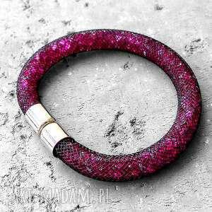 shimmer - lśniąca bransoletka/ stardust/rubinowa, elegancka, modna, swarovski
