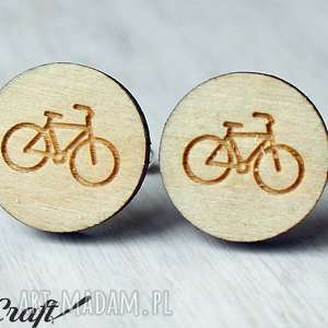 drewniane spinki do mankietów rower - spinki, drewniane, mankietów, unikatowe