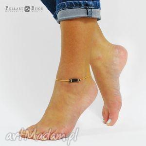 bransoletki bransoletka na stopę kostkę beading anklet czarno złota