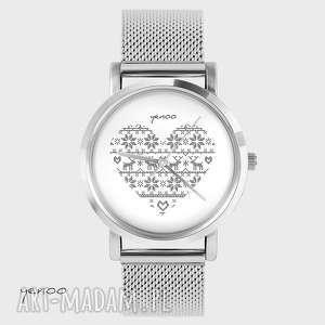 Prezent Zegarek, bransoletka - Serce skandynawskie, szare metalowy, zegarek