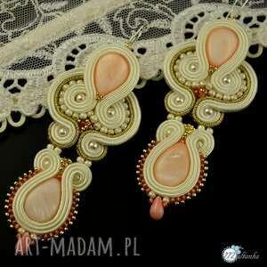 Kolczyki ślubne z masa perłową - sutasz - ,ślub,ecru,sutasz,soutache,