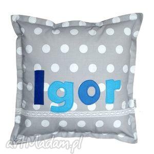Poduszka IGOR, kropki, poduszka, bawełna, koronka, filc, grochy