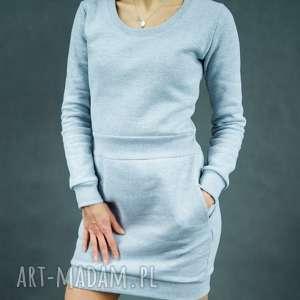Sukienka dresowa szara Bombdress, dresowa, długi-rękaw, ciepła, z-kieszeniami,