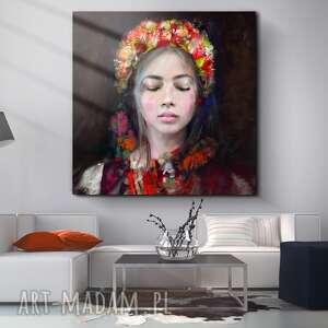 obraz lady folk 100x100 cm, obraz, plakat, dekoracje, dom, sztuka, malarstwo