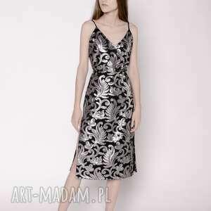 grafitowa sukienka cekinowa, impreza, sukienka, cekiny, wzory, srebrny sukienki