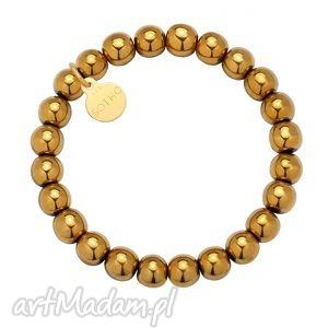 złota bransoletka z gładkiego hematytu, bransoletka, hametyt, złota, kamienie, modowa