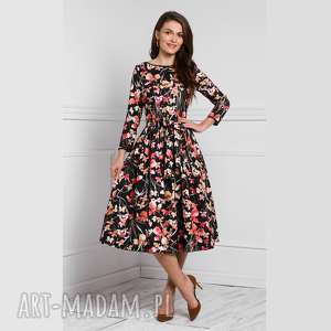 sukienki sukienka marie 3/4 midi larisa, midi, w kwiaty