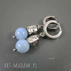 kolczyki z opalu niebieskiego, srebro, biżuteria