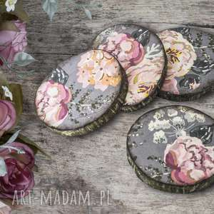 podkładki drewniane - róże, drewniane, decoupage, kwiaty, kubek