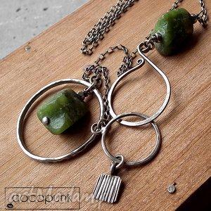 naszyjniki srebro 925 i chryzopraz- długi naszyjnik, zapięcie hak
