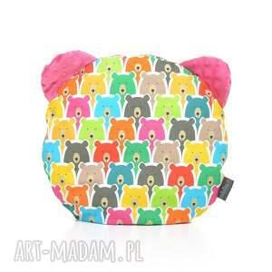 poduszka podusia miś kolorowe misie amarant pracownia - przytulanka