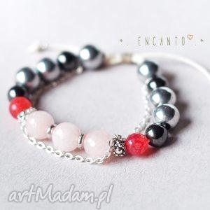 Pink but strong, kamienie, naturalne, jadeit, agat, hematyt, sznurek