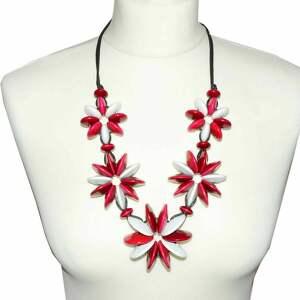 Fuksjowo-białe kwiaty z drewnianych koralików naszyjniki pmpb