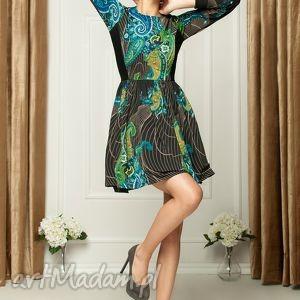 Sukienka z orientalnym printem NB, wesele, koktailowa, impreza, rozkloszowana, print