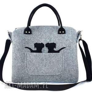 Two black puppy &grey bag/strap - ,torebka,kuferek,pies,pieski,filc,