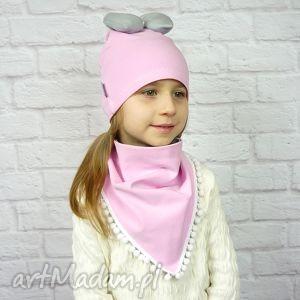 bukiet-pasji cienki komplet dla dziewczynki czapka komin - bawełna