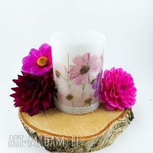 świeca róż z suszonymi trawami kwiatami dekoracja do domu ozdoba, suszone kwiaty