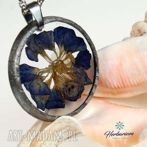 Prezent Naszyjnik z suszonymi kwiatami, Herbarium Jewelry, kwiaty w żywicy z1029