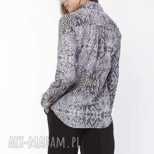 koszula damska z dłuższym tyłem, k112 wąż, elegancka, koszula, dopracy, wąż