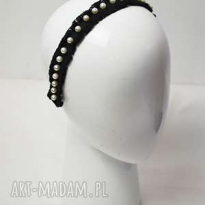 opaska z perełkami, fascynator, perełki, czarny, bawełna