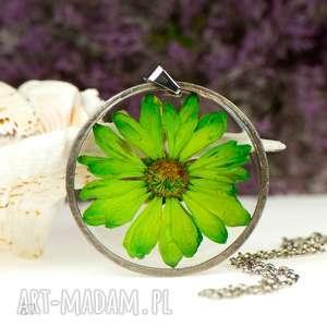 ręcznie robione naszyjniki naszyjnik z zielonym kwiatem w żywicy z87