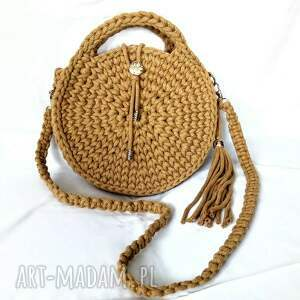 sznurkowa torebka beżowa koło, torebka ze sznurka, na szydełku