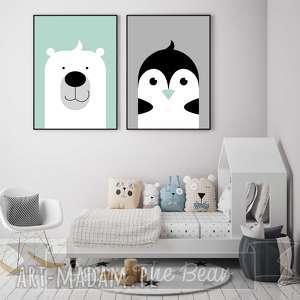 pokoik dziecka zestaw plakatów dla dzieci miś i pingwin a3, miś, pingwin, mięta