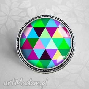 handmade broszki triangles- kolorowa broszka artystyczna a grafiką w szkle